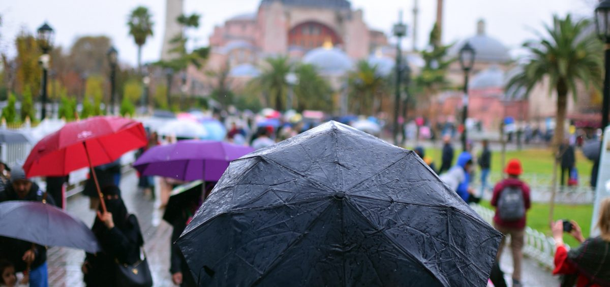 People with umbrellas at outdoor event.